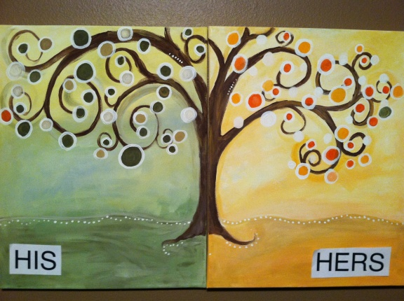 Circle Tree for Couples can be painted the same colors or you and your partner can be totally opposite. They will still look fabulous when they are hung side-by-side!