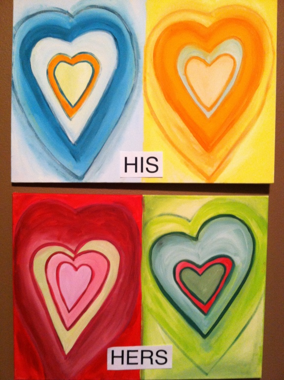Pop Art Hearts. You can paint the same colors or be different.  Each person paints two hearts on a canvas and you hang it with your partner for a complete painting.