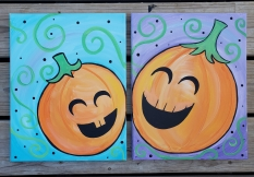October 13-Happy Pumpkins Adult & Kid Partner Painting-11:00am-Felix & Oscar's Restaurant-$35 includes both painters-click image to register